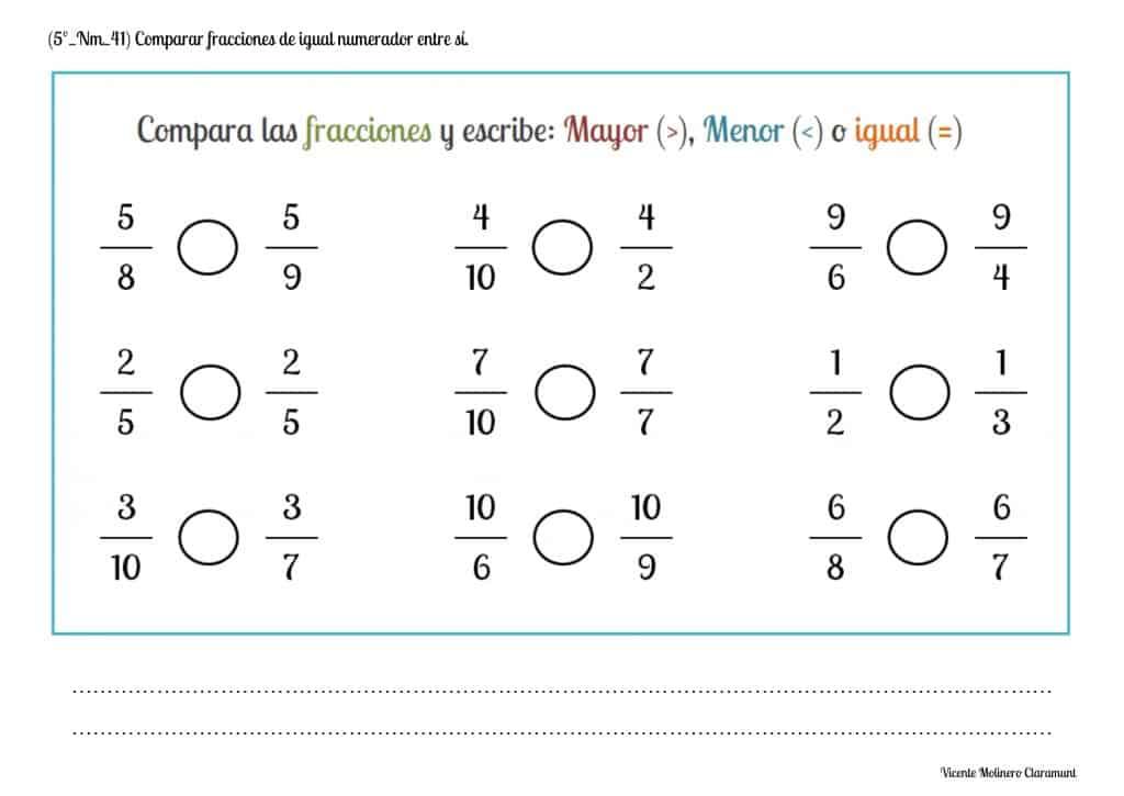 Números Fraccionarios Quinto Educación Primaria 10 Años