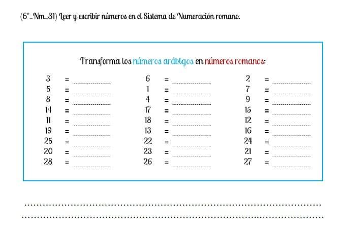 numeracion romana del 1 al 30
