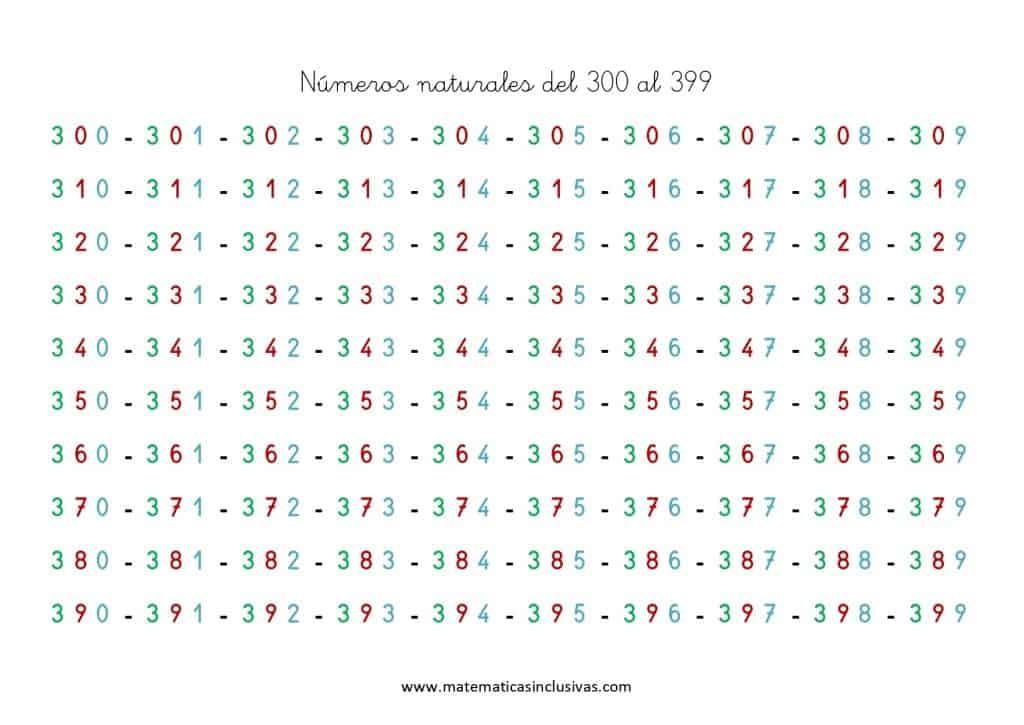 numeros cardinales del 300 al 400
