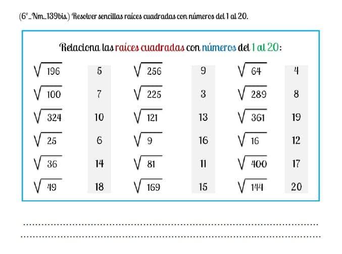 raices cuadradas numeros 1 al 20