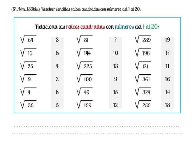 raiz cuadrada del 1 al 20