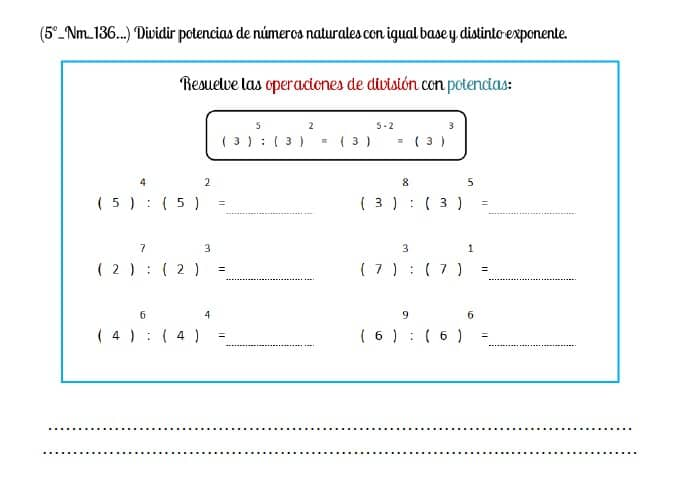 5º división potencias igual base distinto exponente