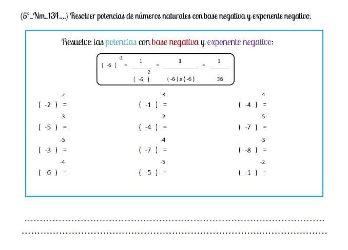 5º potencias base negativa exponente negativo