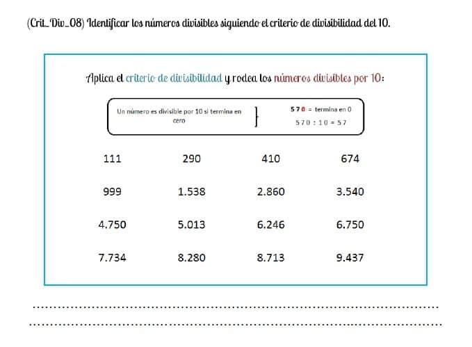 criterio de divisibilidad numero 10