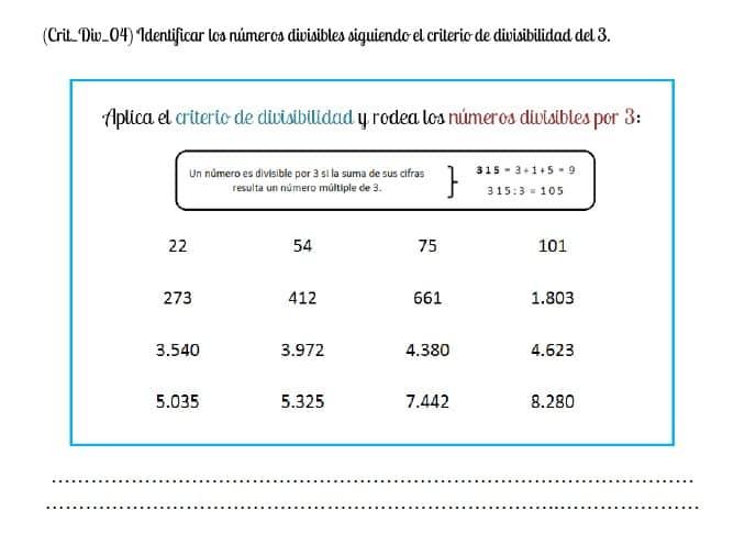criterio de divisibilidad numero 3