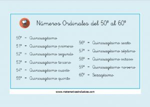 tabla numeros ordinales del 50 al 60