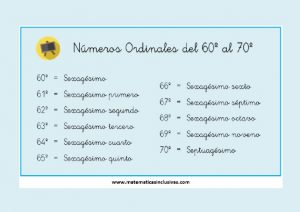 tabla numeros ordinales del 60 al 70