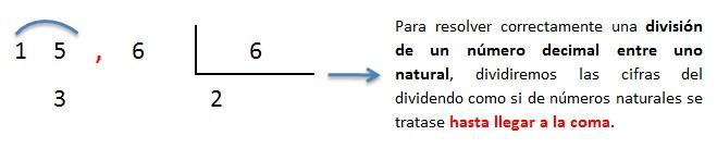 explicacion division de un numero decimal entre numero natural 1