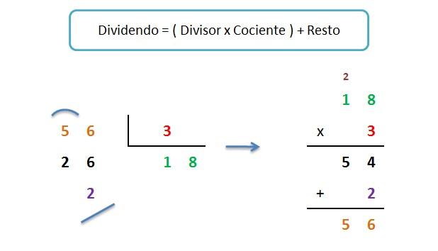 explicacion paso a paso prueba de la division y formula