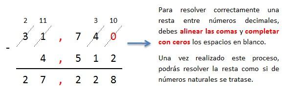 explicacion paso a paso resta de numeros decimales