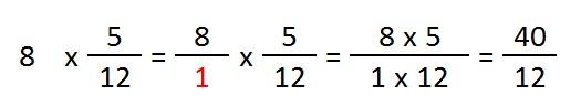 ejemplo y explicacion multiplicacion numero por fraccion