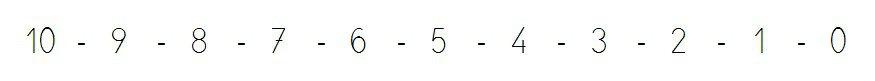 serie numerica descendente del 10 al 0
