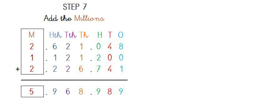 ADDITION 3 ADDENDS UP TO 7 DIGITS NO CARRY - 4