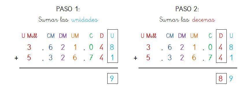 suma y solucion 7 cifras sin llevar - 1