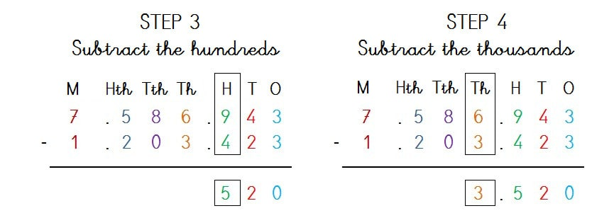 SOLVE 7 DIGIT SUBTRACTION NO BORROWING - STEP 2